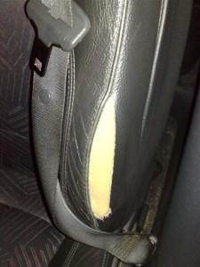 Asiento roto del vehículo